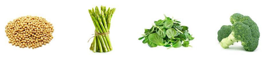 Nasiona roślin strączkowych, szparagi, szpinak, brokuł.