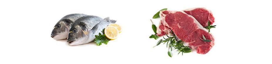 Surowa ryba i czerwone mięso