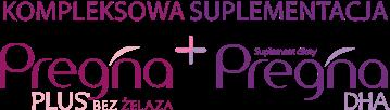 "Napis ""Kompleksowa suplementacja"". Poniżej loga Pregna plus bez żelaza i pregna dha"